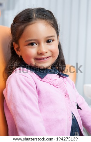 Little girl at the dentist for dental care