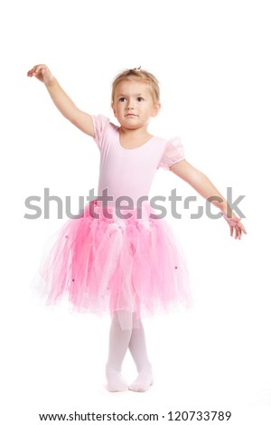 little girl balerina dancer isolated on white background