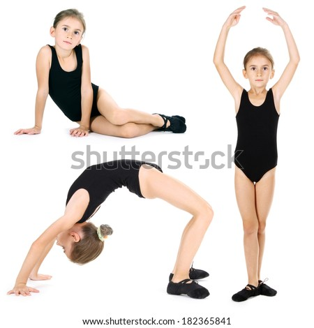 Little girl ballerina, isolated on white