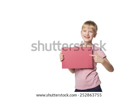 Little girl behind, holding blank advertising board banner, over white background - stock photo
