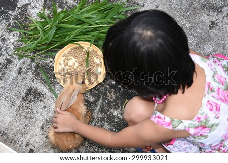 Little girl caring and feeding her loving pet food with hand, watching. top view shot. Rabbit is eating rabbit feed and grass. Unplugged - stock photo