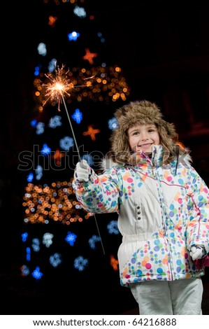 Little girl celebrate Christmas - stock photo