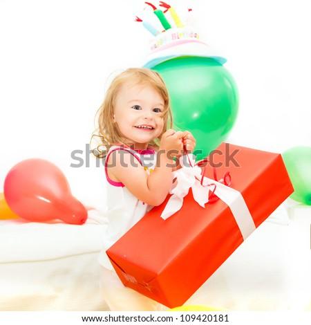 Little girl celebrating her second birthday - stock photo