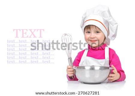 Little girl chef with kitchen utensils isolated on white background. - stock photo