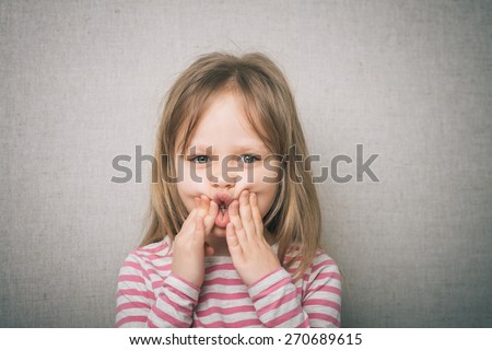 little girl child have toothache, emotions large inflated cheek emotion background - stock photo
