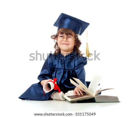 Little girl child in academician clothes  with roll and book