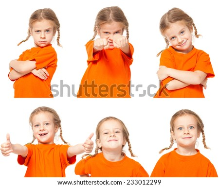 Little girl. Child on white background. Collage - stock photo