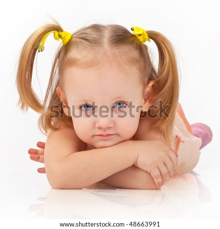 little girl closeup portrait, isolated white background
