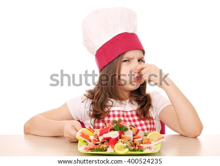 little girl cook with seafood bad smell