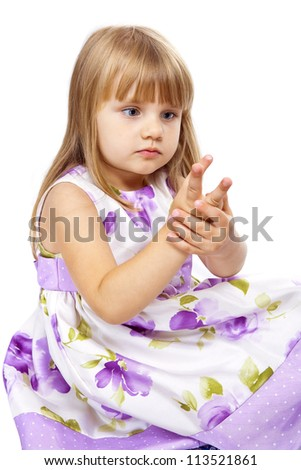Little girl counting on her fingers isolated on white - stock photo