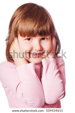 Little girl covering ears looks funny isolated