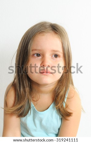 Little girl crying. Girl with sad expression and tears. - stock photo