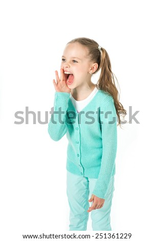 little girl crying, screaming or calling - stock photo