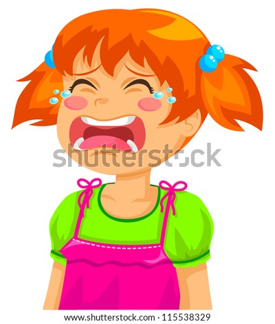little girl crying (vector available in my gallery) - stock photo
