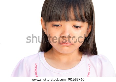 Little girl crying with tears rolling down her cheeks, isolated on white - stock photo