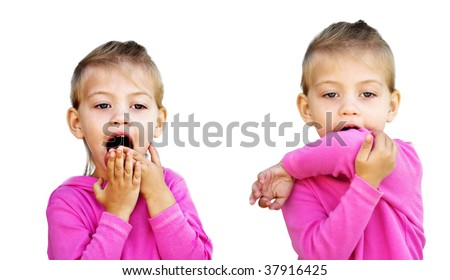 Little girl demonstrates the incorrect and correct way to cough to avoid spreading unwanted germs. - stock photo