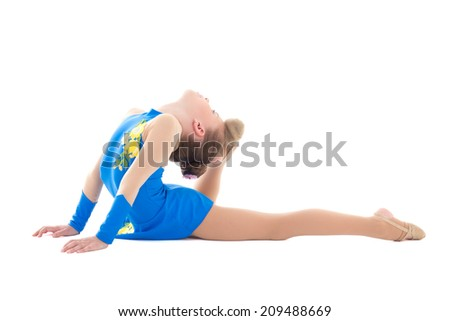little girl doing gymnastics isolated on white background