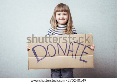 little girl  donations - stock photo