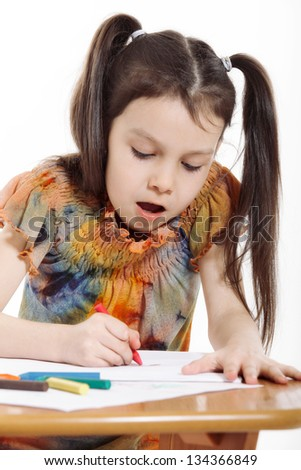 Little girl drawing on white background