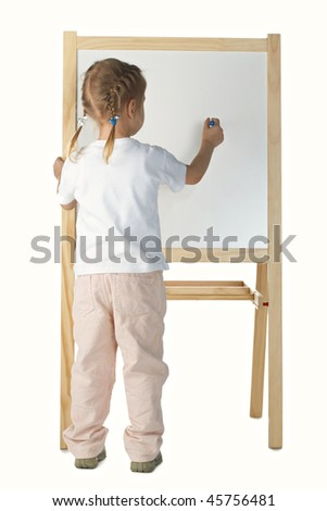 little girl drawing on white background - stock photo