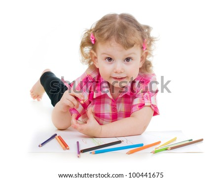 Little girl drawing with color pencils - stock photo