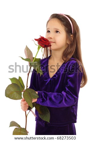 Little girl dreaming with a rose, isolated on white - stock photo