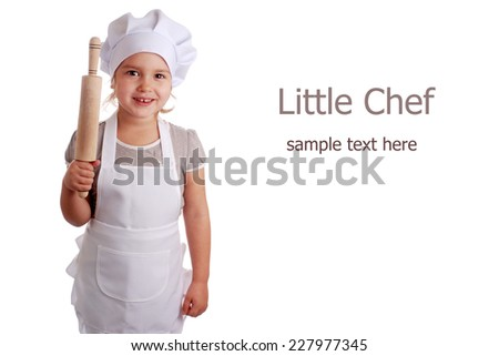 Little girl dressed as a cook on an isolated background - stock photo