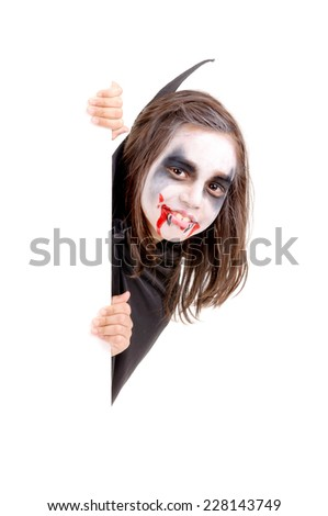 little girl dressed as a vampire on halloween isolated - stock photo