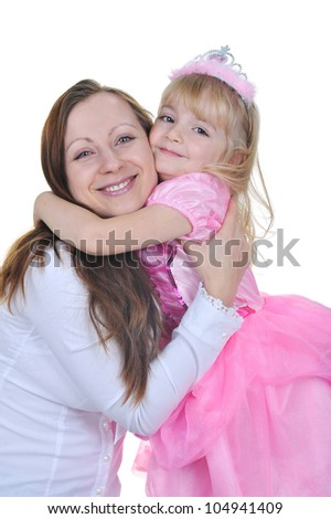 Little girl dressed as princess in pink with  her mother - stock photo