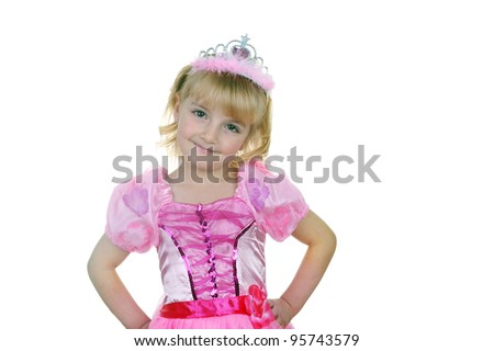 Little girl dressed as princess in pink with tiara - stock photo