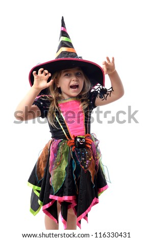 Little girl dressed up as a witch isolated on white - stock photo