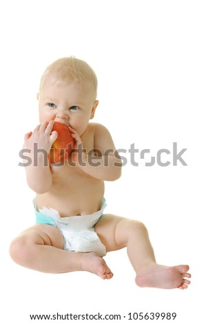 little girl eat ripe red apple isolated on white background