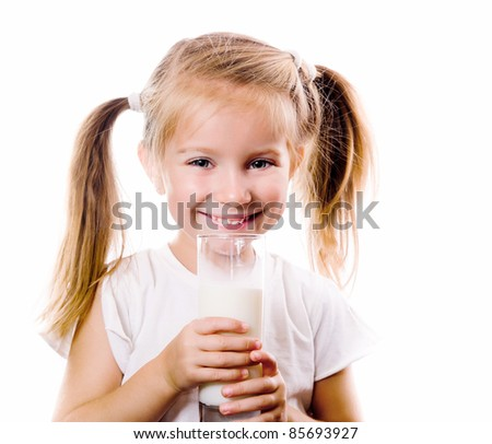 little girl eating big piece of watermelon isolated on white - stock photo