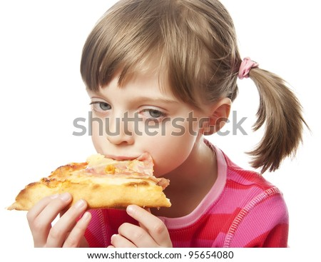 little girl eating pizza - close up - stock photo