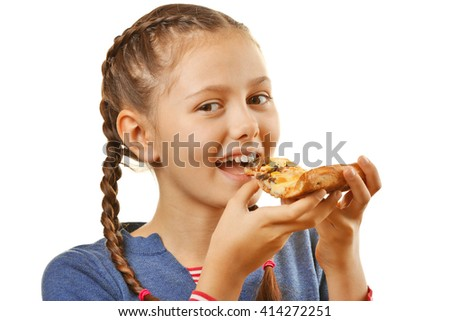 Little girl eating pizza isolated on white - stock photo