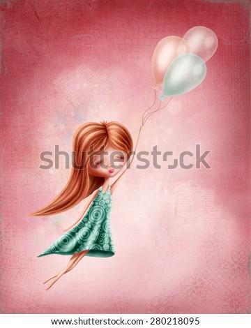 Little girl flying in the sky - stock photo