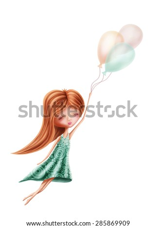 Little girl flying isolated on a white background  - stock photo