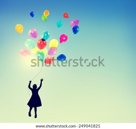 Little Girl Freedom Happiness Imagination Innocence Concept - stock photo