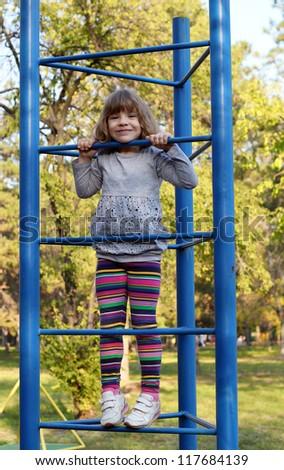 little girl fun on playground - stock photo