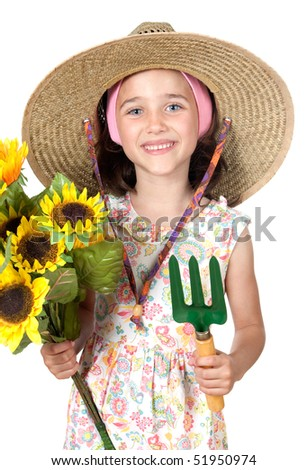 Little girl gardener with straw hat isolated on white background - stock photo