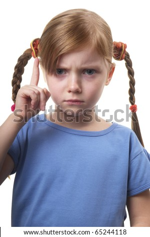 Little girl gesturing attention sign solated over white background (big thumb up) - stock photo