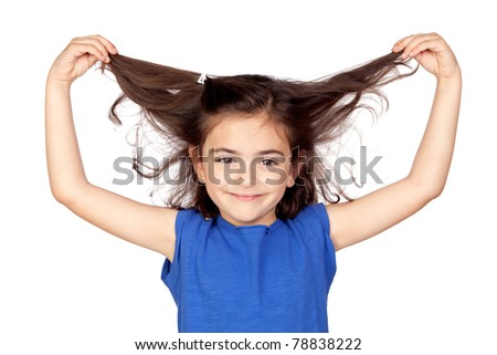 Little girl grabbing her hair isolated on a over white background - stock photo