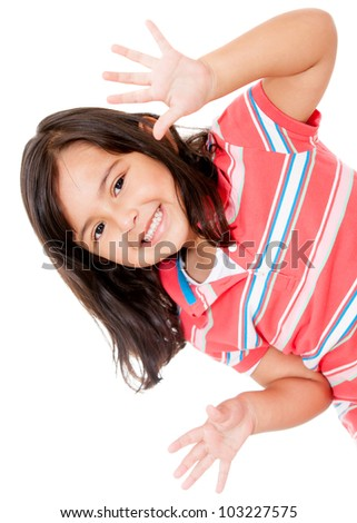 Little girl having fun and smiling - isolated over a white background - stock photo