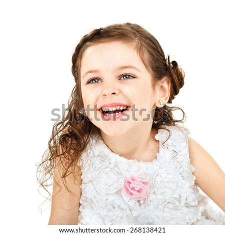 Little girl having fun laughing Isolated on white background - stock photo