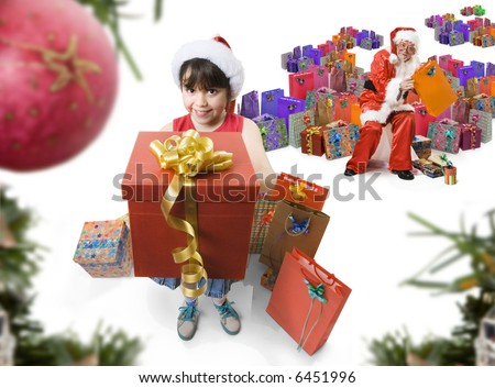 little girl helping santa to give presents, while santa is picking gifts on background. Seen from the christmas tree - stock photo