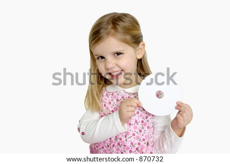 Little Girl Holding a Blank CD - stock photo