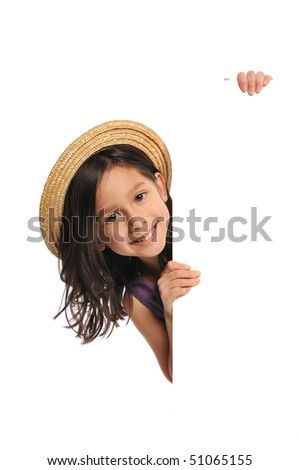 Little girl holding a blank sign isolated on a white background - stock photo