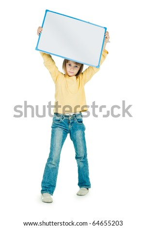 little girl holding a board - stock photo