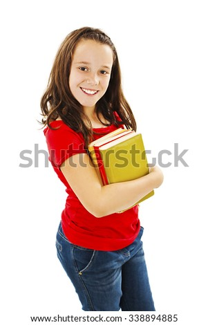 Little girl holding a books. Isolated on white background - stock photo