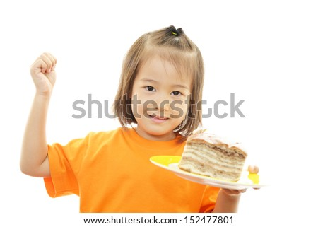 Little girl holding a bread